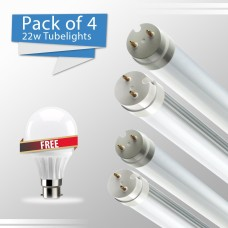 Pack Of 4 LED T8 Tube Lights (22 WATT) And Get 1 (3W) LED Glass Bulb Free
